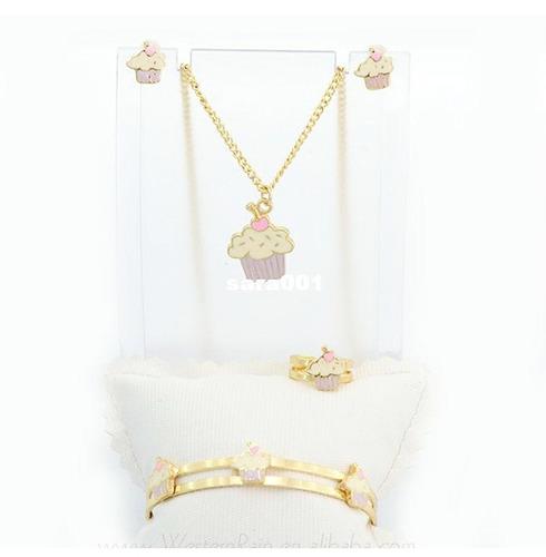 set joyas oro chapado 18k niña regalo cumpleaños