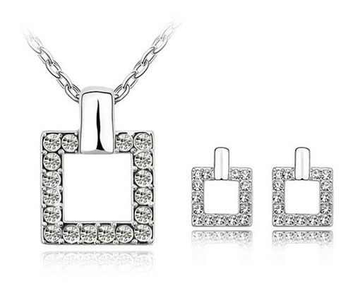 set joyería collar y aretes cuadrado cristal austriaco