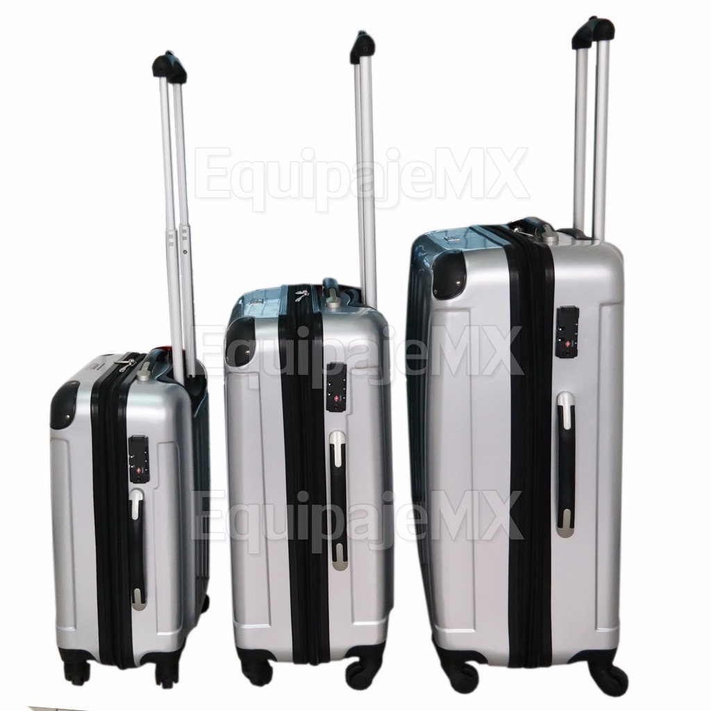 b4353f702 set juego 3 maletas 20 24 28pulg rígidas candado tsa plata /. Cargando zoom.