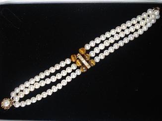 set juego collar y pulsera perlas y ojo de tigre