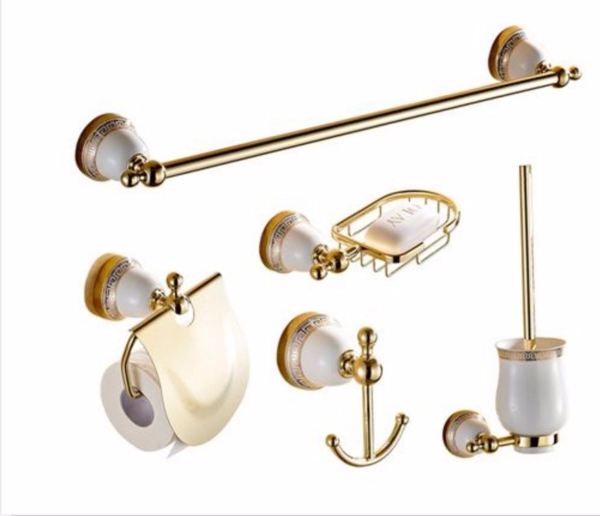 Set juego de accesorios para ba o oro pulido dorado 5 for Conjunto de accesorios para bano
