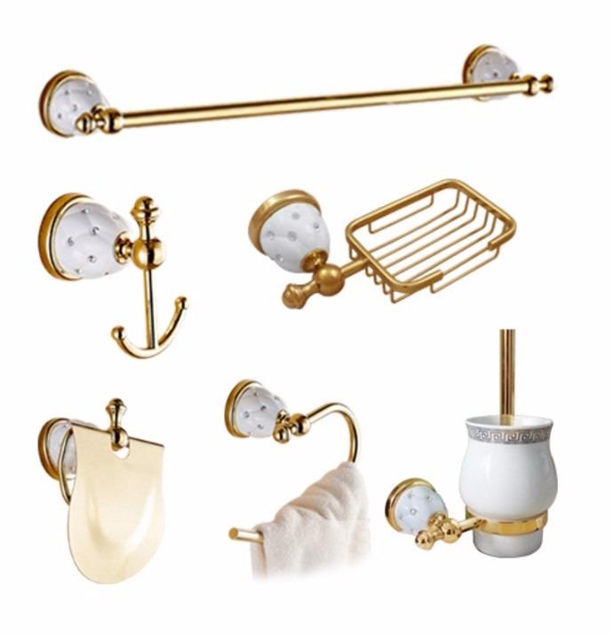 Set juego de accesorios para ba o oro pulido dorado 6 for Set accesorios bano