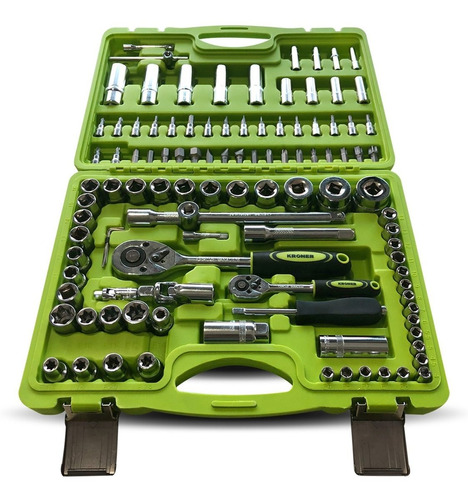 set  juego de tubos llaves y puntas kroner de 108 piezas