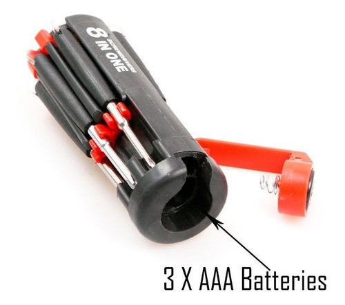 set juego destornilladores multifuncional 8 en 1 luz led
