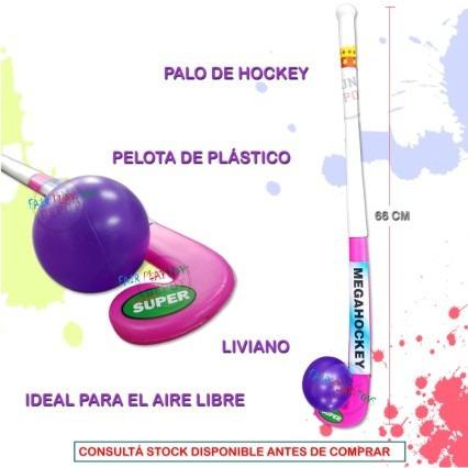 set juego hockey palo + pelota niños niñas plastico