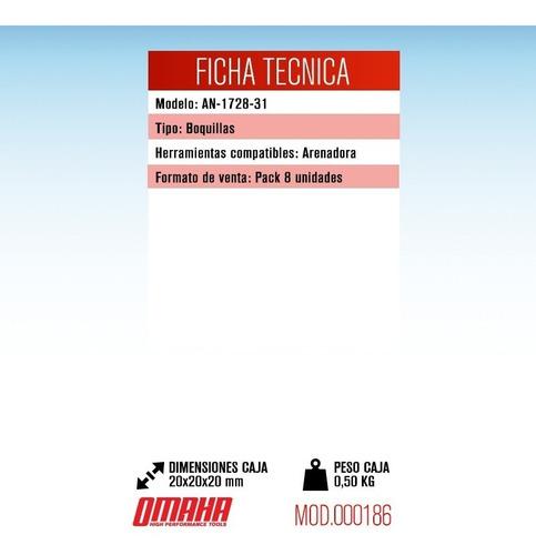 set juego kit 8 boquillas para arenadora neumatica omaha