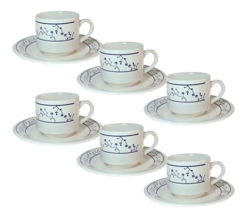 set juego tazas té c/plato cerámica biona brasilia x6 cuotas