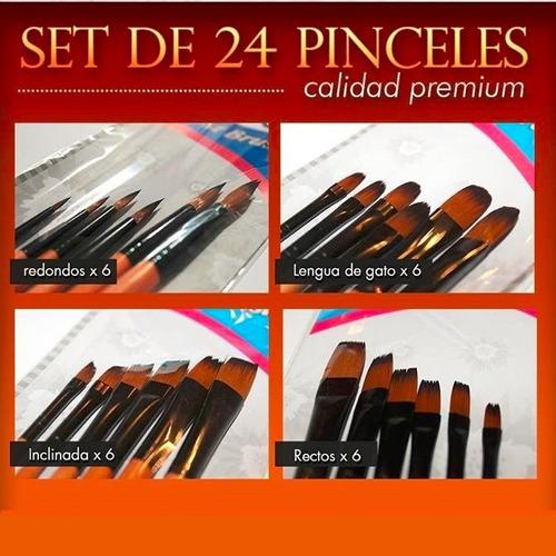 set kit 24 pinceles artistas, oleo, acrilico, profesionales