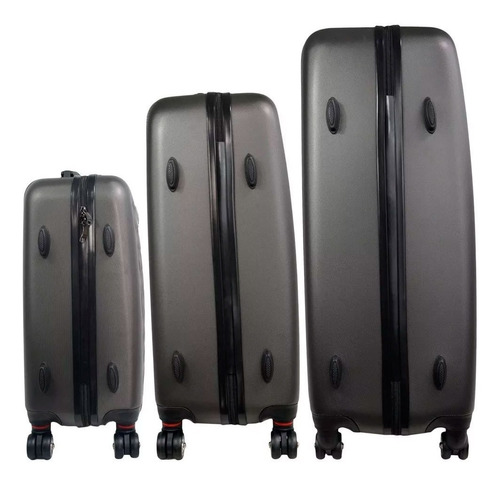 set kit 3 rigidas maletas viaje vacaciones plata ejecutiva
