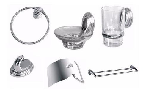 set kit accesorio baño 5 piezas loza blanca cuadrado oferta