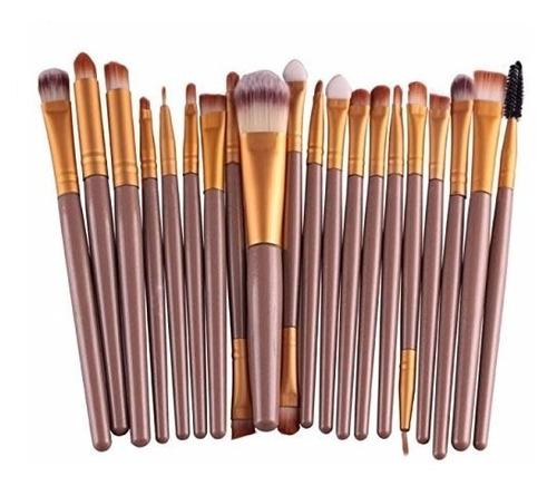 set kit de 20 pinceles maquillaje pro base sombra delineador