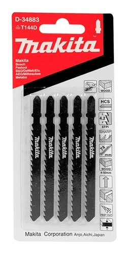 set kit de 5 hojas de sierra caladora makita madera d-34883
