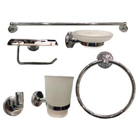 Set Kit Juego Accesorios Para Baño 6 Piezas Bronce Cromado