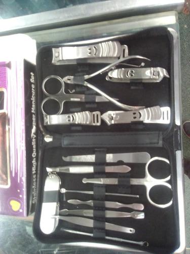 set kit manicure 15 piezas profesional acero inox cortauñas
