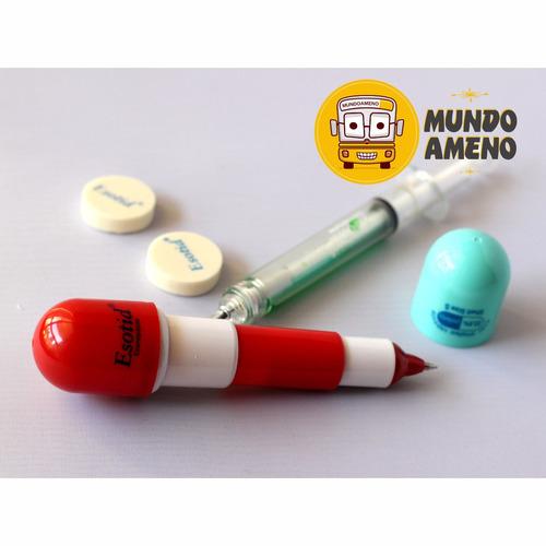 set lapiz jeringa y capsulas para médicos,enfermeras,tens