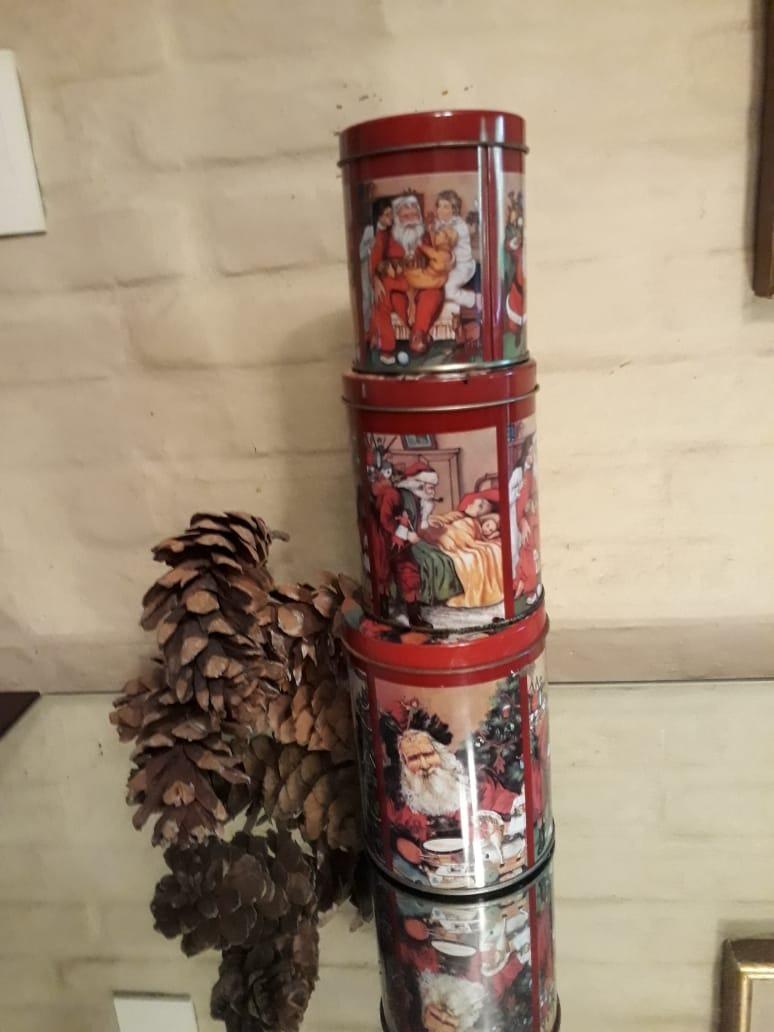 Set Lata Decoración Navideña Navidad Papa Noel Vintage Retro 50000