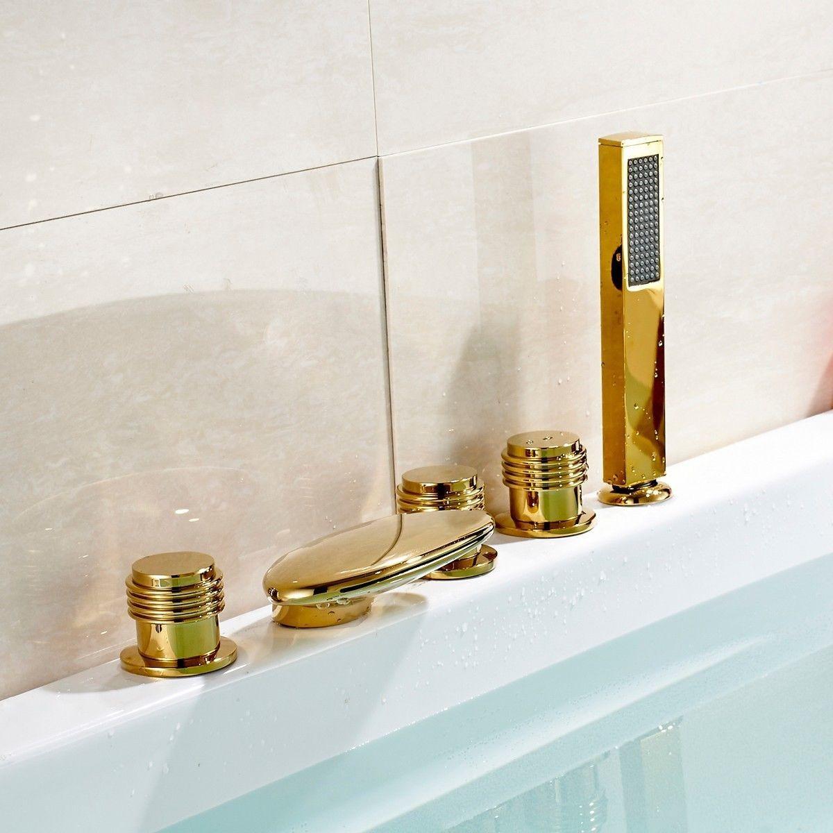 Set llaves y grifo con ducha de mano para tina de ba o d for Llaves con sensor para bano