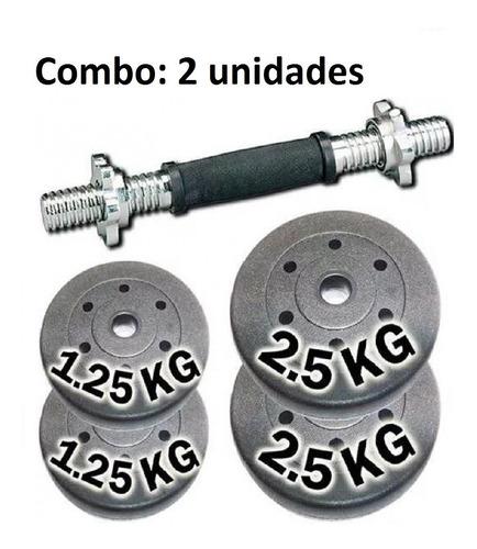 set mancuerna+7.50 kilos discos c/envio s/cargo x 2 unidades