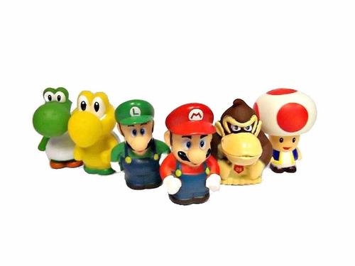 set mario y sus amigos 6pz juego coleccion 7cm niños juguete