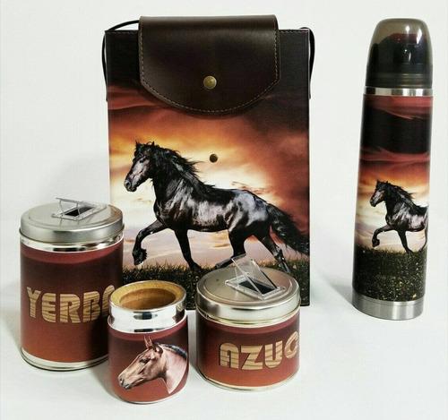 set matero equipo de mate rectangular de caballos.