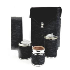 Set Matero Equipo De Mate Rectangular Negro Rustico( Funda )