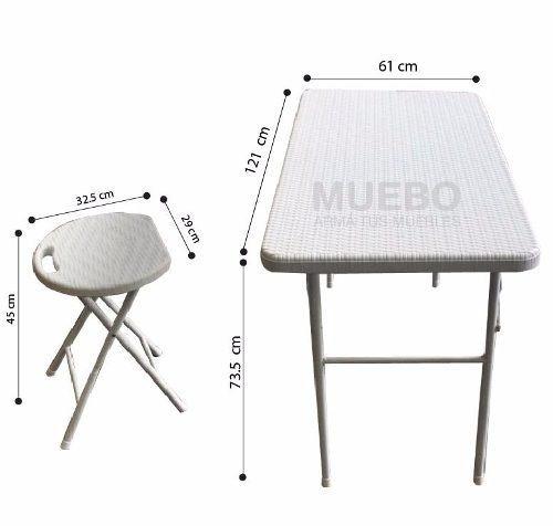 set mesa + 4 sillas plegables jardin patio + 18 cuotas
