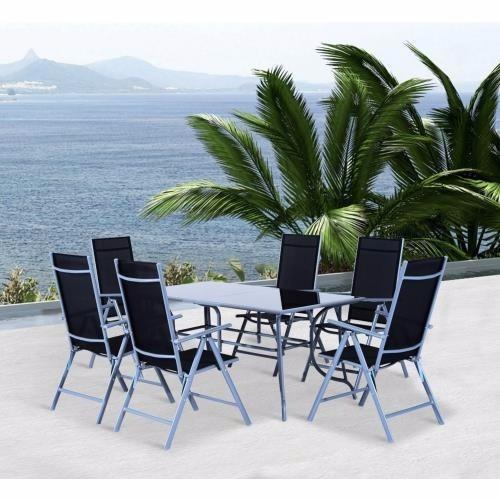 set mesa 6 sillas plegables patio jardín aluminio exterior