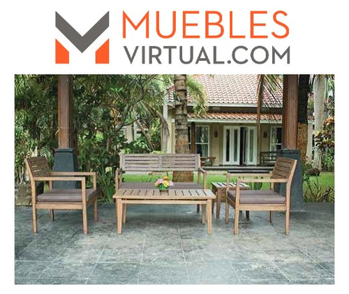 set mesa de cafe + 2 sillones + 1 banco madera teka original
