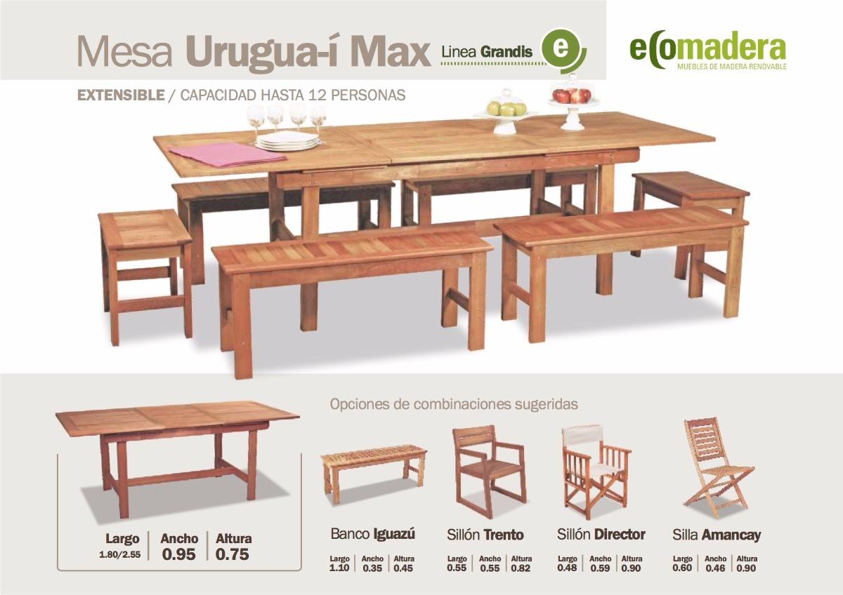 Set Mesa Uruguai Max 255 6 Bancos 110 12 Personas - $ 29.139,00 en ...