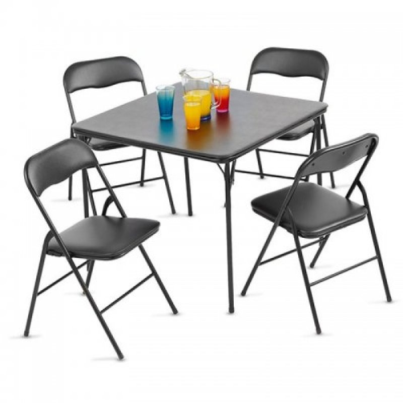 Set mesa y 4 sillas plegables comedor desayunador negro for Mesa plegable 4 sillas