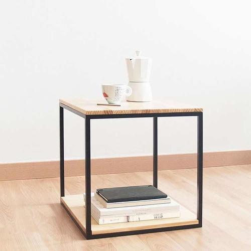 set mesas auxiliares madera y hierro