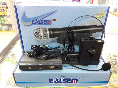 set microfonos inalambrico vincha + solapa es-330 vhf 30mts