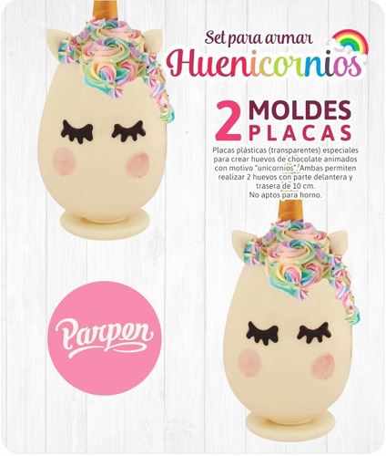 set moldes placas huenicornios / unicornios de 10cm parpen
