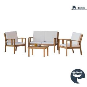 Set Mueble De Exterior/interior Liam Madera Con Almohadones