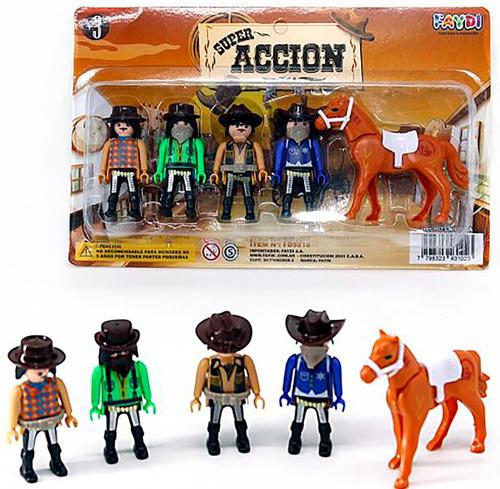 set muñecos cowboy pirata indio simil playmobil 9810 bigshop