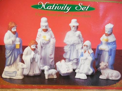 set nacimiento porcelana pintados a mano navidad f709
