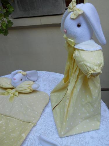 set pañalera cambiador algodonera conejo