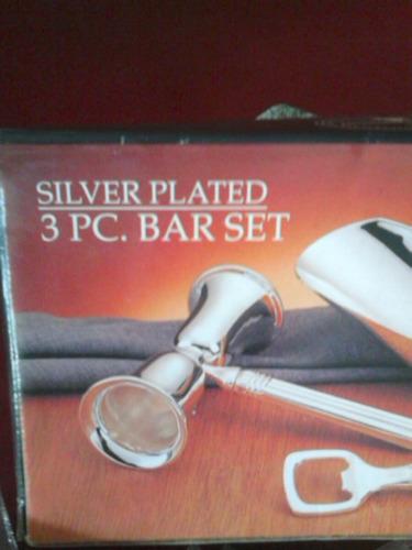 set para bartender de silver plated, importado