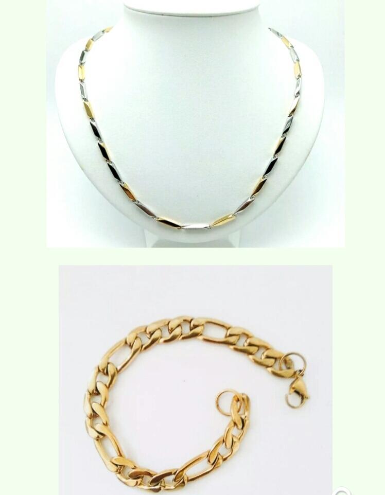 ad08e391cfa7 set para caballero collar-pulsera oro con acero envio gratis. Cargando zoom.