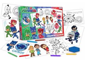 Set Para Colorear Y Borrar Heroes En Pijamas Pj Masks