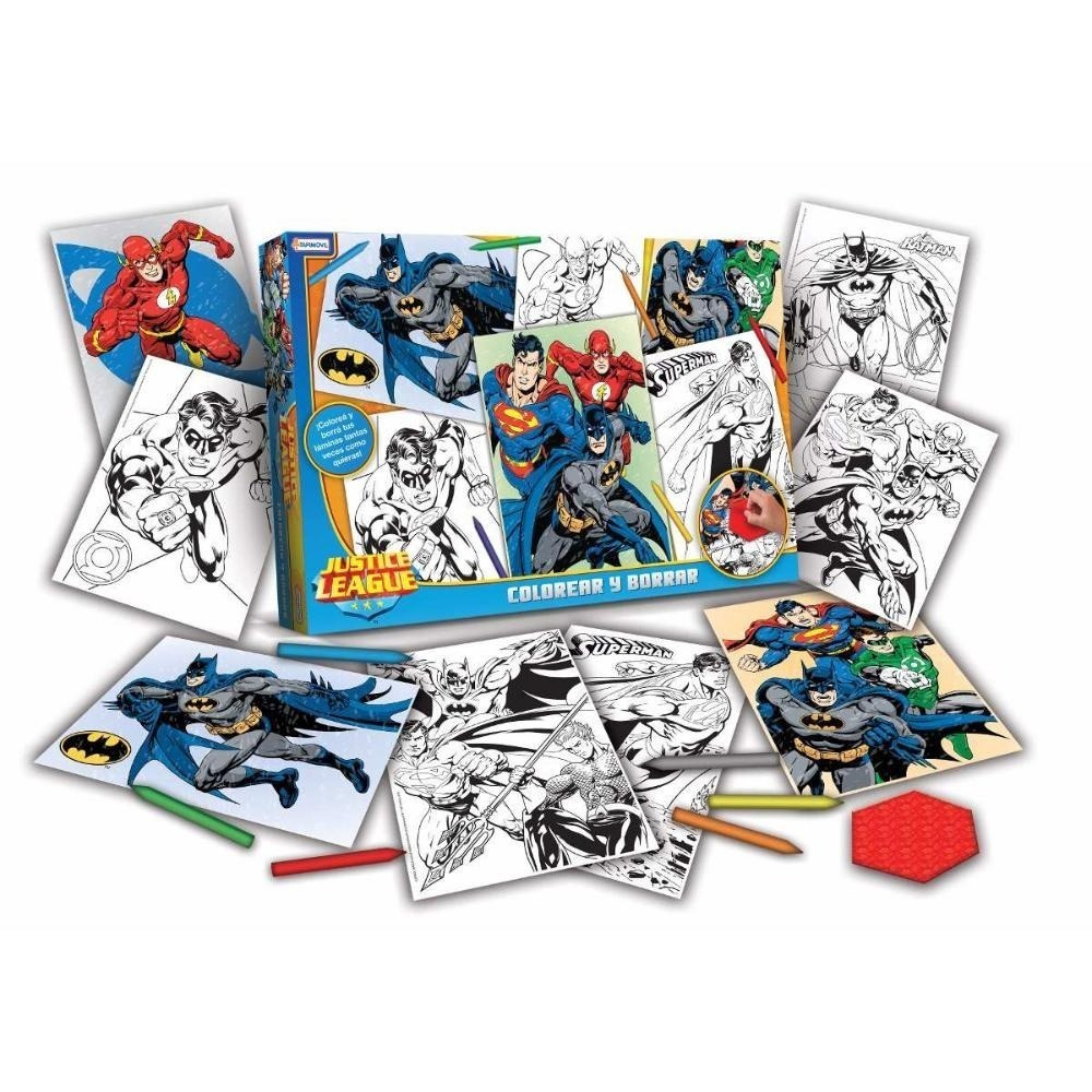 Set Para Colorear Y Borrar Liga De La Justicia Original - $ 179,99 ...