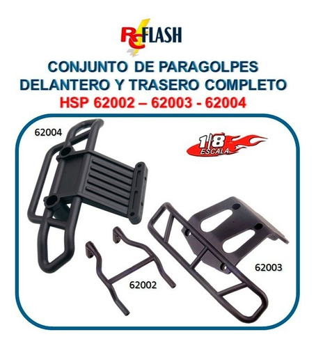 set paragolpes camioneta monster rc 1/8 hsp redcat exceed