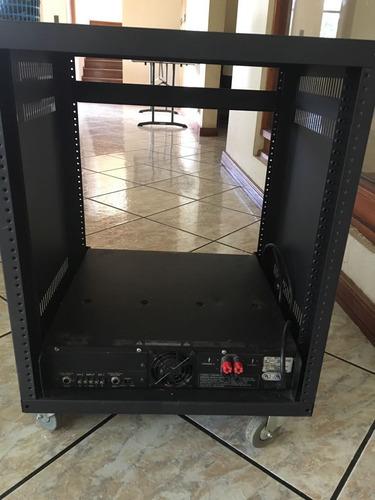 set: parlantes, subwoofer, cables, amplificador qsc y rack
