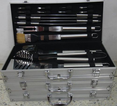 set parrillero de 19 piezas en acero inoxidable