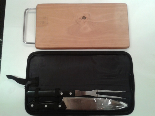 set parrillero de tenedor , cuchillo y tabla