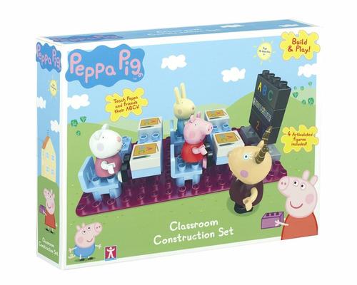 set peppa pig salon de clases con 4 figuras