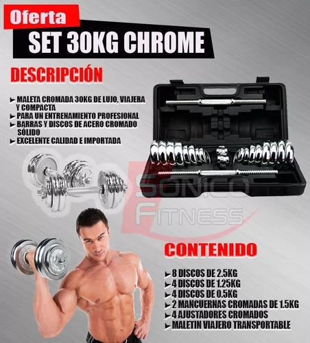 set pesas cromadas 30 kg + mancuernas+ maletin home gym