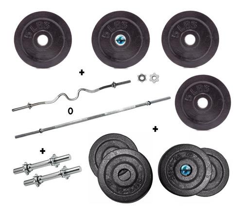 set pesas discos kit barra recta ó curva+mancuernas 52lb gym