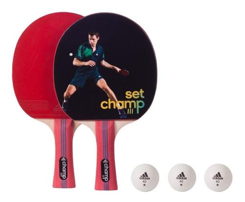 set ping pong adidas - paletas y 3 pelotas - agm 14477