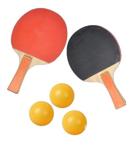 set ping pong recreativo 2 paletas + 3 pelotas proyec tenis